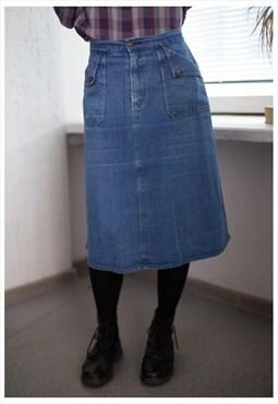 Vintage 80's Blue Midi Denim High Waisted Skirt