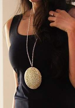 Textured Disc Long Chain Necklace