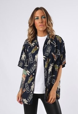 Print Patterned Shirt Oversized Fitted UK 12 - 14 (EDCA)
