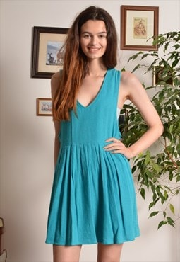 Vintage 80s Textured Cotton Mini Dress in Turquoise Blue
