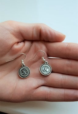 silver om earrings