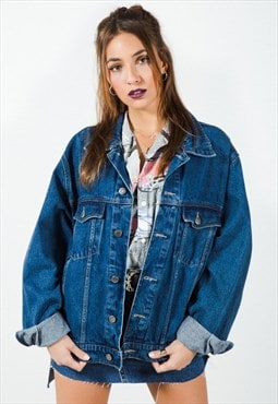 Vintage 80s Original Wrangler Denim Jacket Dark Wash / 7499