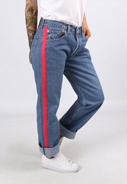 Levis 501's Denim Jeans REWORKED Side Stripe UK 12  (A3AM)