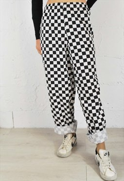 Vintage Oversized Black & White Check Trousers