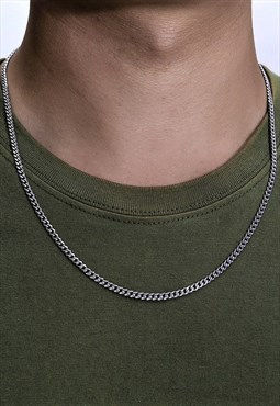 Thin Silver Curb Chain Necklace