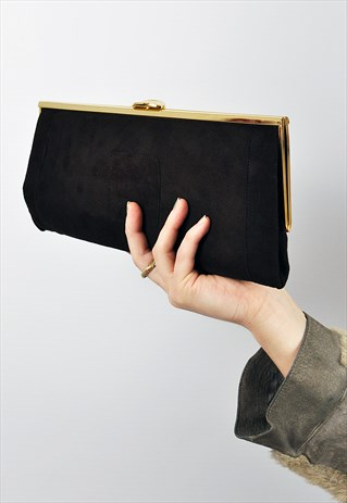 VINTAGE '80S BROWN VELVET CLUTCH BAG