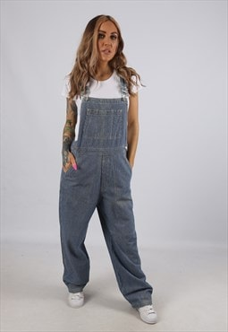 Vintage Denim Dungarees Pinstripe Striped GAP UK 12 M (B3Y)
