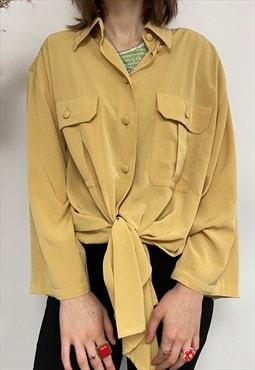 Pretty Chic Retro Vintage Mustard Yellow Longsleeve Shirt