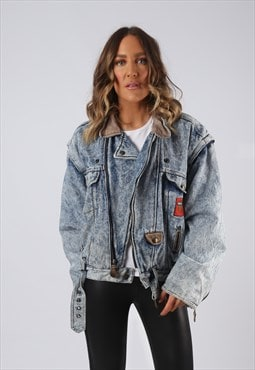 Denim Jacket 90's Bomber Lined Oversized Acid UK 14 (BJDB)