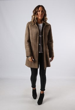 Sheepskin Suede Leather Shearling Short Coat UK 12 (A9BI)