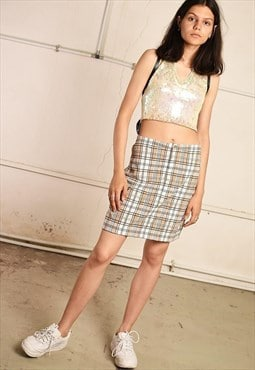 90's retro checked ESPRIT mini pencil skirt