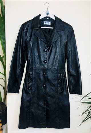 Vintage Ladies Leather Long 90s Mac Trench Coat Jacket