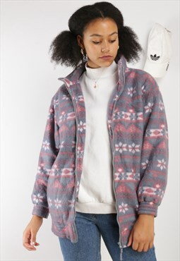 Vintage Patterned Fleece Jacket Z324