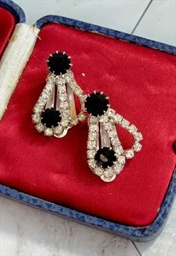 60s Black & White Rhinestones Earrings Vintage Jewellery