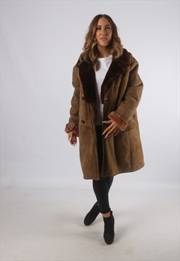 Vintage Sheepskin Suede Shearling Coat Mid UK 16 XL (K93A)