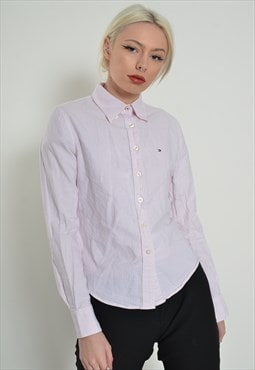 Vintage Tommy Hilfiger Striped Fitted Shirt Pink