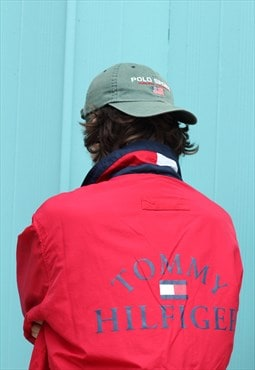 RARE Vintage 90s Tommy Hilfiger red windbreaker jacket