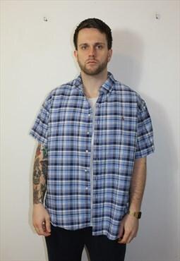 Vintage 90's Ralph Lauren Short Sleeve Checked Shirt Blue XL