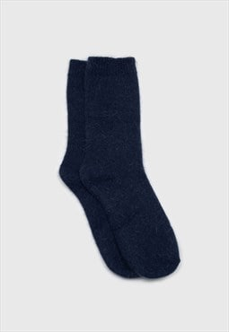 Deep blue angora smooth socks