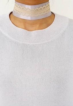 Satin Choker - Grey & Lace Choker - Beige