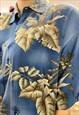 VINTAGE 90S SHIRT HAWAIIAN IN BLUE WITH BEIGE LEAVES PATTERN