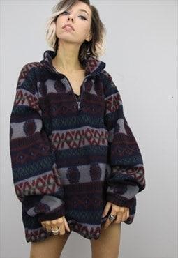 Vintage 90s Oversized Patterned Fleece