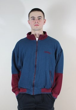 Vintage 1990s Turquoise and Burgundy Zip Up Sweatshirt