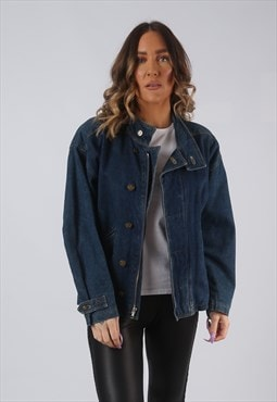 Denim Jacket Lined Oversized Fitted Vintage UK 10 (CW3E)