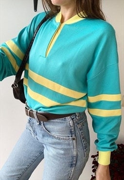 Vintage 70s multicolor sports sweatshirt jumper tracksuit