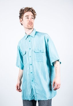 Vintage 1980s Pale Blue Silk Shirt