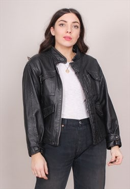 Vintage 80s Collarless Black Leather Jacket with Cord Lining