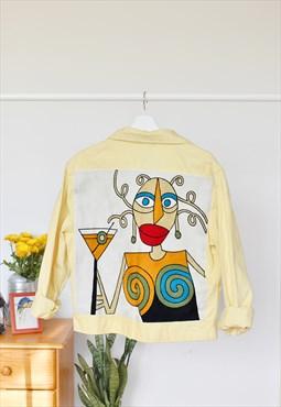 Unisex reworked denim vintage hand-embroidered Lee jacket