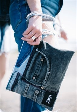 Clutch Bag In Patchwork Denim