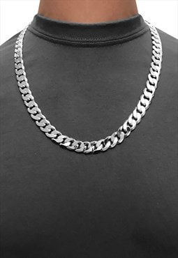 "22"" 12mm 925 Sterling Silver Wide Chunky Curb Necklace Chain"