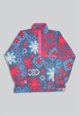 Vintage 90s Colmar Crazy Abstract Pattern Popper Fleece