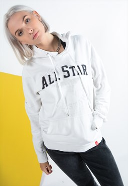 Vintage Converse Hoodie with Logo in White.
