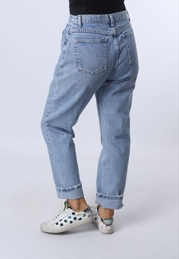 High Waisted Denim Jeans Tapered Leg Vintage UK 12 (K94F)