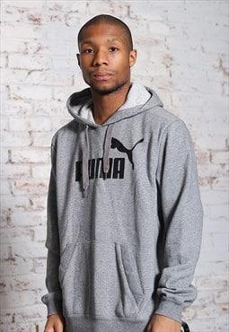 Vintage Puma Big Print Logo Hoodie Grey