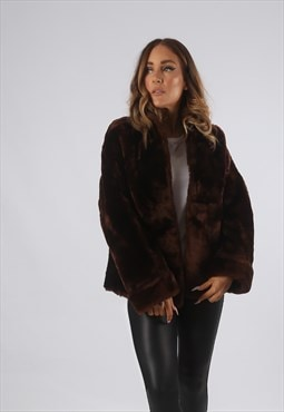Vintage Faux Fur Coat Jacket Short UK S 10  (9BQ)