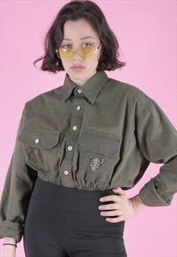 Vintage Reworked Crop Army Shirt in Green with Hog Patch
