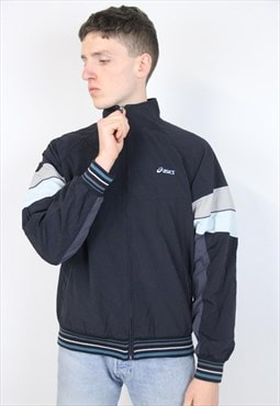 Vintage 90's Asics Black Pattern Sports Jacket