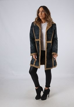 Vintage Faux Sheepskin Suede Effect Coat UK 10 Small  (AEA)