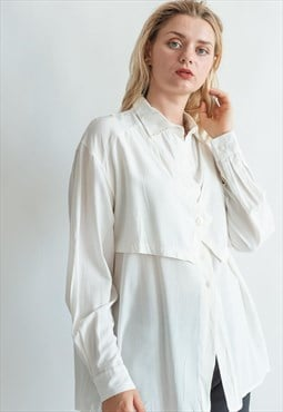 Vintage 80s minimal white shirt with vest detail