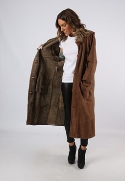Sheepskin Suede Leather Shearling Hooded Coat UK 16 18 (A9BM