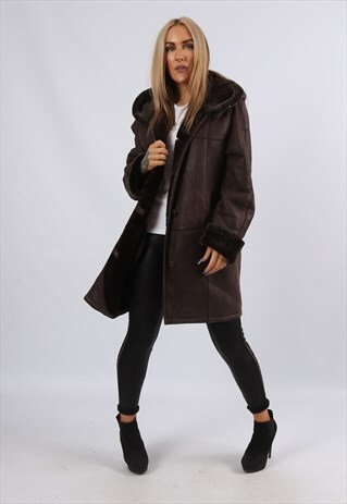 Vintage Sheepskin Leather Shearling Coat Hooded UK 12 (JDY)