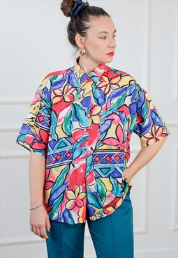 Rainbow shirt vintage printed floral blouse short sleeve XL