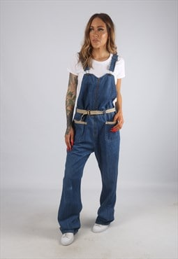Vintage Denim Dungarees Wide Leg UK 12 Medium  (H2W)