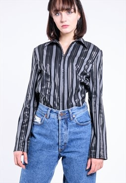 VINTAGE Grey Shiny Striped Retro Blouse