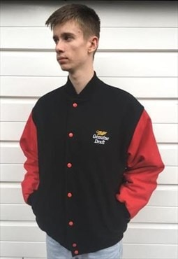 Mens Vintage Miller genuine draft bomber jacket black red