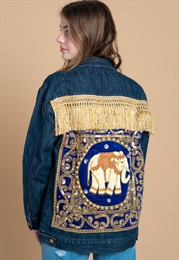 Thai Elephant Embellished Festival Denim Jacket in Blue